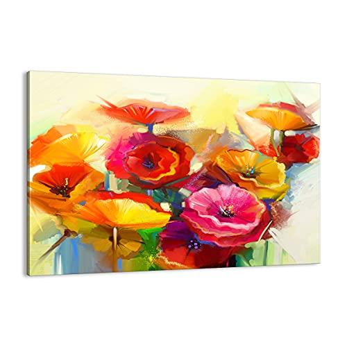Quadro su tela - Elemento unico - Fiori Primavera flora giardino - 100x70cm - Pronto da appendere - Home Decor - Stampe su Tela - Quadri Moderni - completamente incorniciato - AA100x70-2877