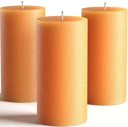 Set of 3 Orange Pillar Candles 3 x 6 Unscented for Weddings, Church, Home Decoration, Restaurants, Spa, Smokeless Cotton Wick - Rustic - Fragrance-Free by Melt Candle Company