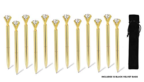 ETCBUYS 12 Pack Diamond Pens - Gold, Gold fancy pens for women, pen with diamond on top, Rhinestones Crystal Metal Ballpoint Pens Black Ink (Gold)