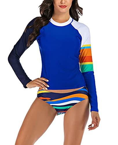 Traje de baño de una pieza para surf con estampado de protección solar de manga larga para mujer,Azul,XXL