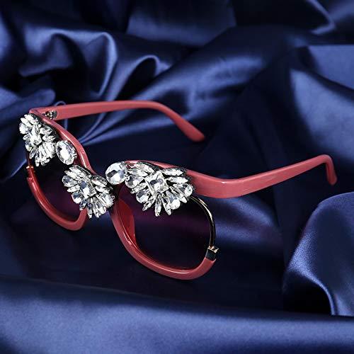 Moda Gafas De Sol para Mujer, Diseño De Marca, Montura Grande, Gafas De Sol Cuadradas con Diamantes De Lujo, Gafas De Sol para Mujer, Tonos De Moda para Mujer, Rosa