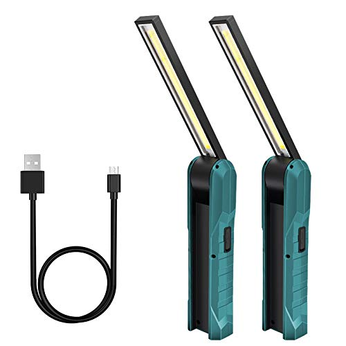 2 Packs Lampada da Lavoro, Lampada Officina di Ispezione USB Ricaricabile LED da Lavoro Pieghevole Torcia con Magnetica Clip e Gancio Lampada Portatile per Auto/Campeggio/Home e di Emergenza Uso