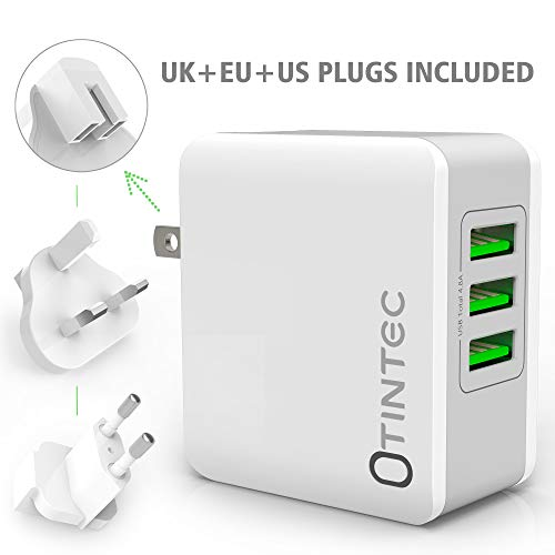 Tintec USB Charger Plug, Universal USB Plug UK/EU/US 3 Ports Rapid 24W/5V 4.8A AC Power Adapter Charger with Fast Charging for Apple iPad, iPhone, Samsung