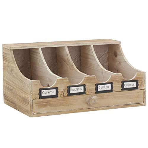 Range-couverts en bois vieilli 4 compartiments