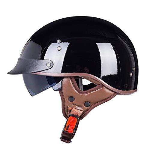HYRGLIZI Casco Moto Jet Abierto Retro con Visera Dot Homologado Medio Casco Scooter Ciclomotor Cascos Bicicleta Confortable Casco Moto Jet para Mujer y Hombre,Adultos