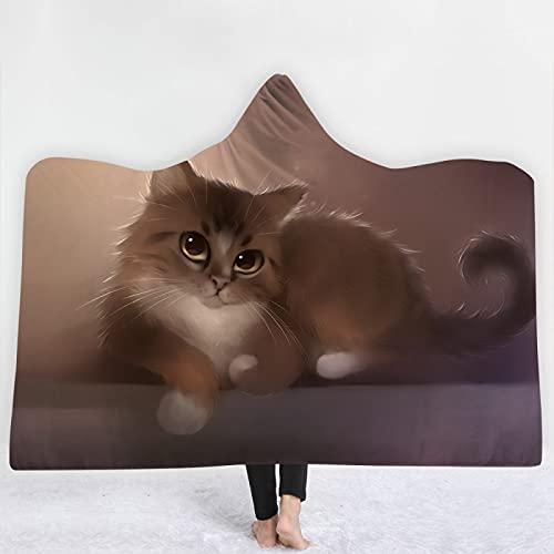 KLily Manta Digital 3D Manta con Capucha De Animales De Acuarela, Manta De Capa De Aire Acondicionado para El Hogar, Suave Y Agradable para La Piel, Lavable A Máquina