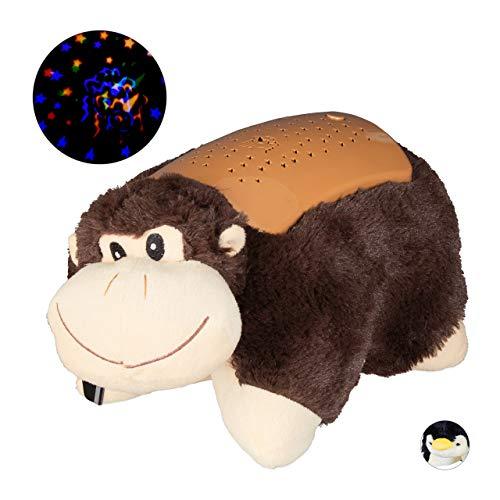 Relaxdays nachtlampje sterrenhemel, knuffeldier aap, inslaaphulp, baby & kind, kleurverandering, zacht, sterrenlicht, bruin