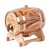 LEILEI Barriles de envejecimiento de Roble,dispensador de Barril de Whisky,Cubo de Vino casero,Barril de Whisky para Vino,licores,Cerveza y Licor,3 l