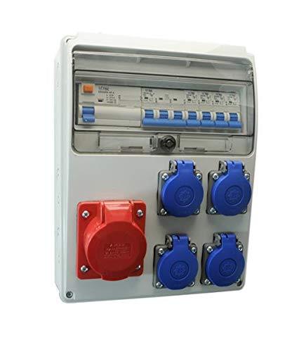 AW-TOOLS Baustromverteiler/Wandverteiler 4 x 230V/16A Schuko + 1 x CEE16A/400V + LS + FI verdrahtet o. Sicherung