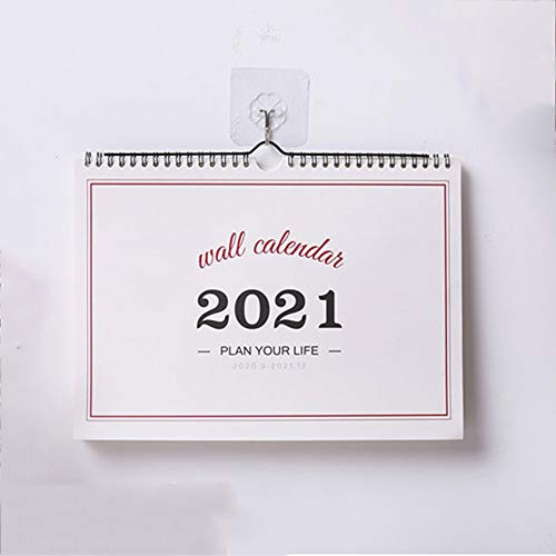 YUY Calendario De Pared 2021, Planificador De Pared con Vista Mensual, Encuadernación De Doble Alambre con Calendario Mensual De 12, Planificador Familiar del Hogar,Horizontalsection