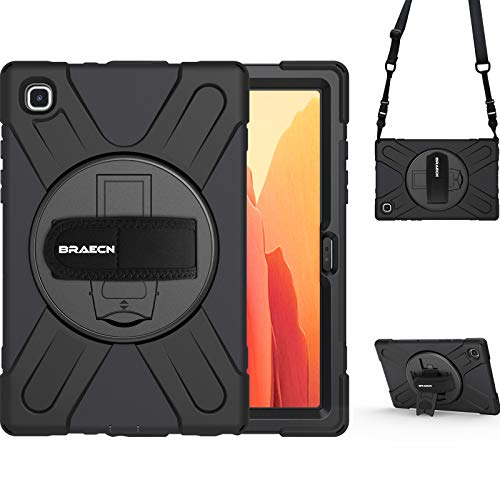BRAECN Galaxy Tab A7 10.4 Case 2020, Heavy Duty Shockproof Kids Case with Hand Strap, Rotating Kickstand, Carrying Shoulder Strap for Samsung Galaxy Tab A7 10.4 Inch 2020 Model SM-T500 SM-T505 -Black