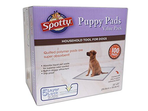 Spotty Super Absorbent Heavy Duty 5 Layer Housebreaking Training Leak Proof Pet Puppy Dog Pee Pads, 100 Count