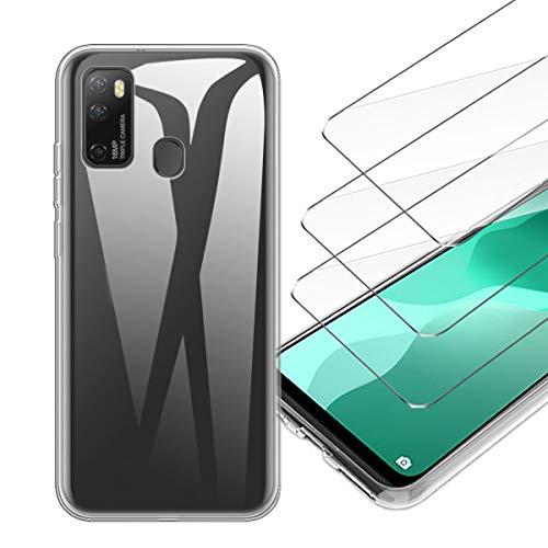 LJSM Hülle für Ulefone Note 9P + [3 Stück] Panzerglas Displayschutzfolie - Transparent Weich Silikon Schutzhülle Flexibel TPU Tasche Case für Ulefone Note 9P (6.52