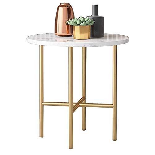 GAOLIM Mini Tables d'extrémité en marbre Blanc Salon Nordique Petite Table Ronde Canapé Table d'appoint Balcon Table Basse Art en Fer doré, 19,6\