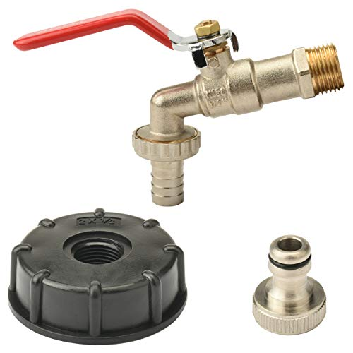 Sukudon IBC Tank Adapter 1/2 '' Thread Connector Brass Replacement Valve Fitting Parts Water Garden Faucet Butt Water Storage Tank Hose Fitting Parts