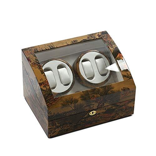 Caja para Relojes Reloj Winder, 4 + 6 Relojes Caja De Visualización De Almacenamiento Motor Silencioso 5 Modos De Rotación Anti-magnetización A Prueba De Polvo Cajas De Almacenamiento