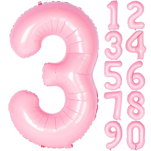 40 Inch Tiffany Pink Numbers 0-9 Birthday Party Decorations Helium Foil Mylar Number Balloon Digital 3