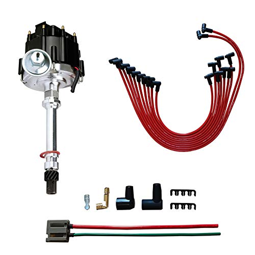 MAS Performance HEI Distributor & Spark Plug Wires & FREE Pigtail Wire Harness Combo Kit compatible with Chevy/GM SBC 350 BBC 454 65k coil 7500RPM DD-SBC-HEI-V8 850001R