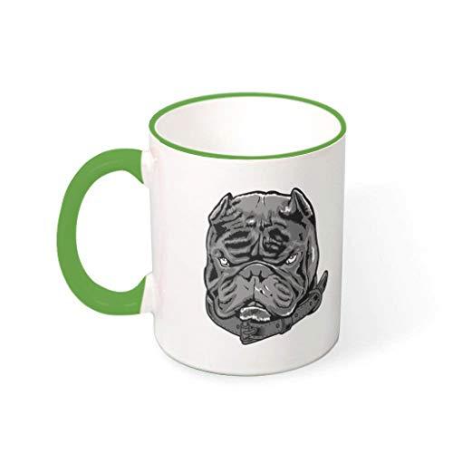 OwlOwlfan Taza de cerámica de color perro tazas de café divertido taza de té con mango para café bar festival de cumpleaños regalo para niños niñas verde irlandés 330ml
