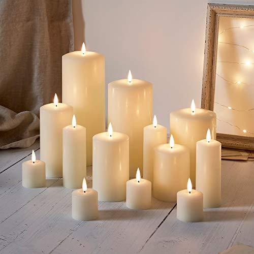 Lights4fun TruGlow® 13er Set cremefarbene LED Kerzen mit Timer batteriebetrieben