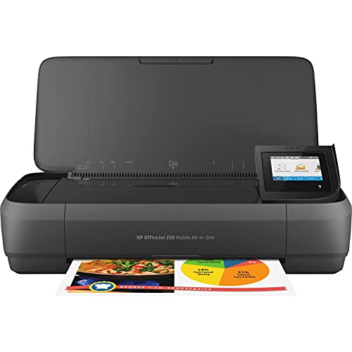 HP OfficeJet 250 All-in-One Portable Printer with Wireless & Mobile Printing, Works with Alexa (CZ992A), Black, Normal