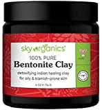 Bentonite Clay by Sky Organics (4 oz) 100% Pure Bentonite Clay Indian Healing Clay Face Mask for Oily Blemish-Prone Skin Pore Purifying Face Mask Detoxifying Face Mask for Blemishes (4 oz)