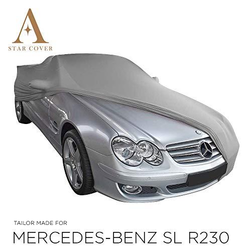 AUTOABDECKUNG GRAU PASSEND FÜR Mercedes-Benz SL-Class R230 MIT SPIEGELTASCHEN INNEN SCHUTZHÜLLE ABDECKPLANE SCHUTZDECKE VOLLGARAGE Cover