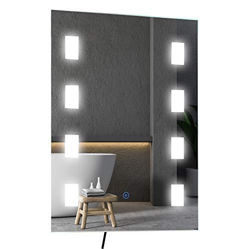 kleankin Lichtspiegel LED Spiegel Anti-Beschlag Badspiegel Badezimmerspiegel Wandspiegel mit Berührungsschalter Silber 70 x 50 x 4 cm