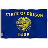 Anley Fly Breeze 3x5 Foot Oregon State Flag - Vivid Color and UV Fade Resistant - Canvas Header and Double Stitched - Oregon OR Flags Polyester with Brass Grommets 3 X 5 Ft