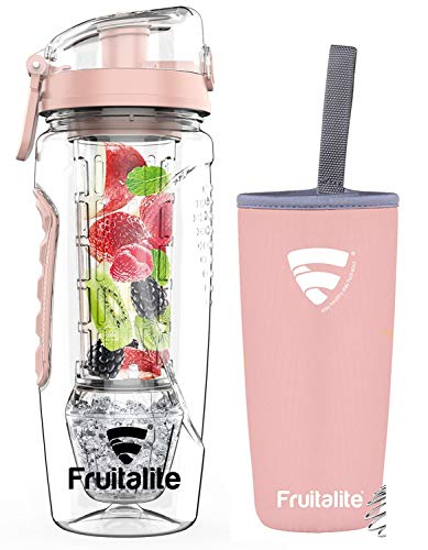 Fruitalite Fruit Infuser Water Bottle- 1 Litre, Tritan Infusion Rod with Ice Gel Ball, Carry Cover Sleeve, Infused Detox Recipes eBook, Cleaning Brush (Rose Gold,Set of 1)
