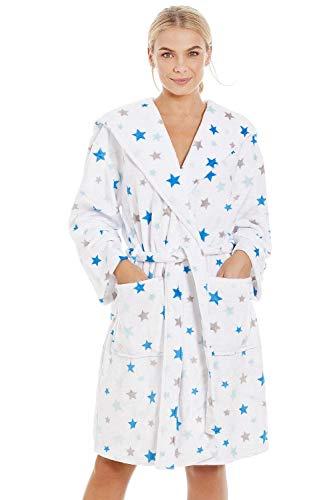 Albornoz Supersuave para Mujer Forro Polar Estampado de Estrellas Azules y Grises - Blanco 36-38