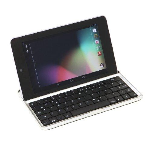"""Produktbild GeX® kabellose Bluetooth QWERTZ-Tastatur für Google Nexus 7 I (nur für die erste Generation von Google Nexus!!) mit deutschem Tastaturlayout mit üblicher Tastenkombination für Umlaute,  Ä,  Ö,  Ü,  ß,  @ bei """"Q"""" und mit deutscher Bedienungsanleitung"""