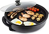 Andrew James 42cm Electric Multicooker with Adjustable Temperature Control | 1500W | Non-Stick | Glass Lid | Easy Clean | Breakfast Dinner One Pot Cooking