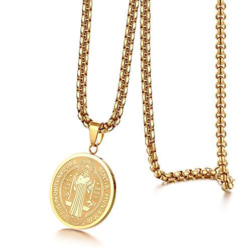 JewelryWe - Collar con colgante de medalla redonda ovalada con cruz de San Benito y cadena ajustable de acero LNOX, joya religiosa Cristiano en caja de regalo, color plata y oro