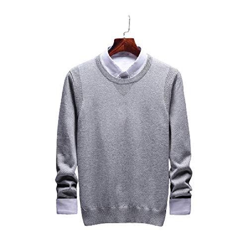 Suéter de Cuello Redondo para Hombre Color sólido Slim Regular Fit Stretch Cómodo Simple Casual Manga Larga Jersey de Punto 3X-Large