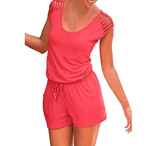 Kolylong の Femme Bustier Combishort sans Manches Combinaison Ensemble de Shorts Plage Jumpsuit Casual Playsuit Dessus Creux Bandage Barboteuses Pantalon Court Rouge EU 42