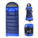 0 Degree Wearable Sleeping Bag for Adults Compact Lightweight Cold Weather Mummy Sleeping Bags for 2-3 Season Camping Backpacking, Fits 5°F ~ 50°F, 4.3lbs More Warmer (Blue, Right)