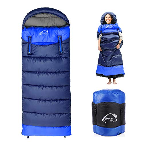 0 Degree Wearable Sleeping Bag for Adults Compact Lightweight Cold Weather Mummy Sleeping Bags for 2-3 Season Camping Backpacking, Fits 5°F ~ 50°F, 4.3lbs More Warmer (Blue, Left)