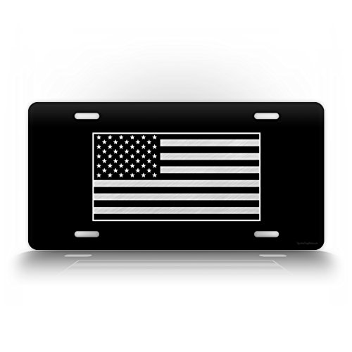 SignsAndTagsOnline Tactical American Flag License Plate Patriotic USA Auto Tag AR15 US Army Badge Patch Black & White