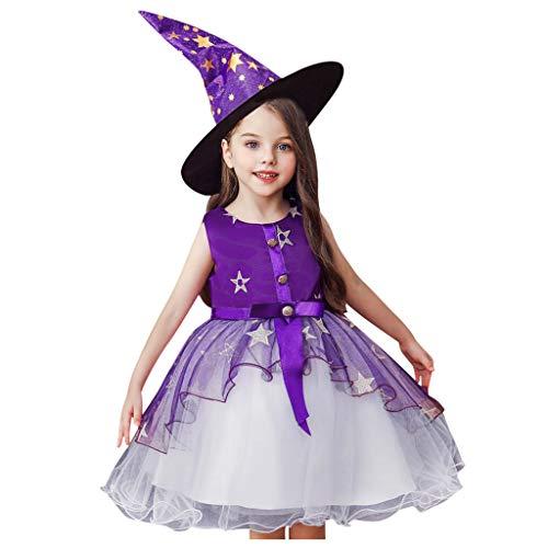 Xmiral Baby Mädchen Prinzessinenkleid Kleinkind Tüll Kleid + Hut Cosplay Outfits Halloween Party Persönlichkeit Hexe Kostüm Unterrock(Violett,7-8 Jahre)