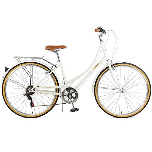 Retrospec Beaumont-7 City Bike Seven Speed Lady's Hybrid Urban Commuter Bicycle; Eggshell, 42cm