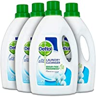 Dettol Antibacterial Laundry Cleanser Liquid Additive, Fresh Cotton, Multipack of 4 x 1.5 Litre, Packaging may vary