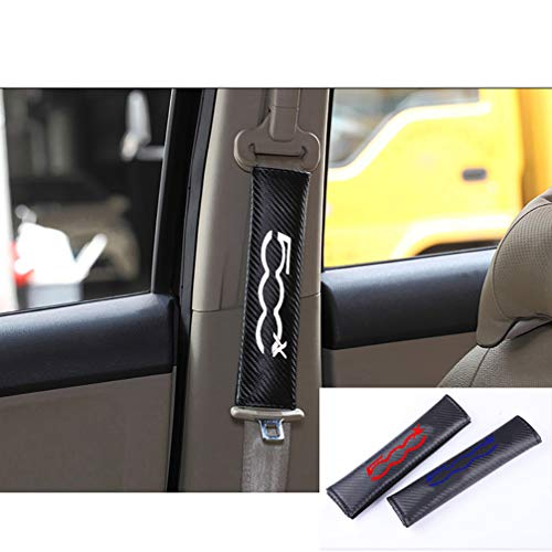 HUAQIEMI 2Pcs Kohlefaser Sicherheitsgurt Schulterpolsterung Gurtpolster, für FIAT 500x Erwachsene und Kinder Shoulder Sabdeckung Fall, Komfort Atmungsaktive Schutzzubehör