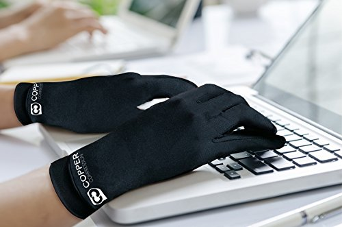 Copper Compression Full Finger Arthritis Gloves. Highest Copper Content Guaranteed. Copper Provides Added Protection. Best Copper Infused Fit Glove for Carpal Tunnel, Computer Typing, Support (Medium)