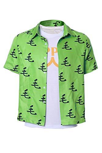 MingoTor Punch Man Saitama Oppai Lässiges T-Shirt Tee Cosplay Kostüm Grün Herren L