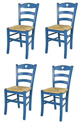 t m c s Tommychairs - Set 4 sillas Cuore para Cocina y Comedor, Estructura en Madera de Haya Color anilina Azul y Asiento en Paja