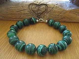JEWEL BEADS Beautiful jewelry AAA++ Quality Green Malachite Bead Bracelet 12mm Code- AU-1896