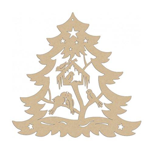 Erzwelt Original Erzgebirge Tanne mit Vögel Vogelhaus Weihnachtsmotiv Deko Fensterbild, Holz, Beige, 27 x 28 x 5 cm