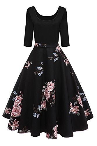 MisShow Damen Elegant Audrey Hepburn Kleid Langarm A-Linie mit Blumendruck U-Ausschnitt Partykleider Cocktailkleid Printkleid Knielang Gr.S-2XL, Schwarz 2, XXL