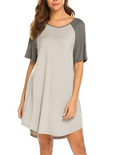 Ekouaer Kurzarm-Nachthemd, Raglan-Schlafshirt, lässig, Lounge-Kleid, Boyfriend-Stil, Nachtwäsche für Frauen -  grau -  Small